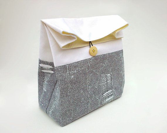 Modern lunch bag / Lunch bag with handle / Black and white lunch bag / Reusable lunch bag / Sac déjeuner