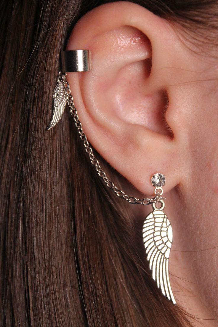 .925 Sterling Silver Ear Cuff Boucle d/'oreille avec chaîne /& Ball Stud One Piece