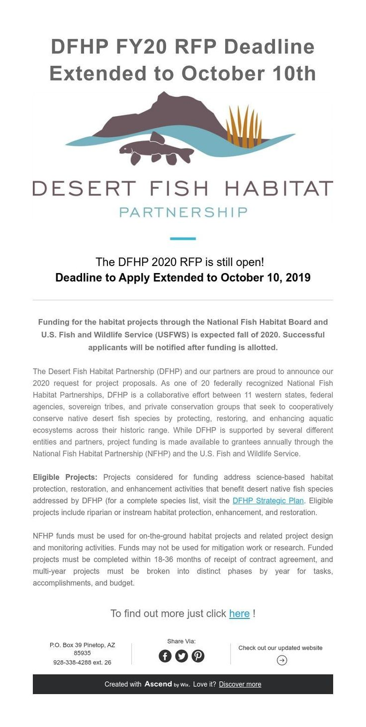 DFHP FY20 RFP Deadline Extended to October 10th (With