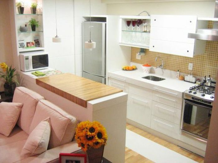 cuisine americaine ikea en bois blanc et un joli ilot de cuisine