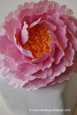 Cake flower Peony - pink and orange