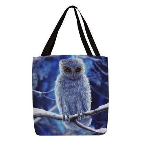 snowy owl Polyester Tote Bag on CafePress.com
