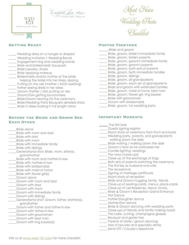 Take a look at the best wedding photography checklist in the photos below and get ideas for your wedding!!! Ultimate Wedding Day Photo Check List! For @Kelly Teske Goldsworthy Teske Goldsworthy Harbison Image source