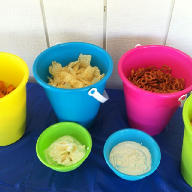 Using bright beach buckets is a great way to serve chips for What to serve at a bbq birthday party