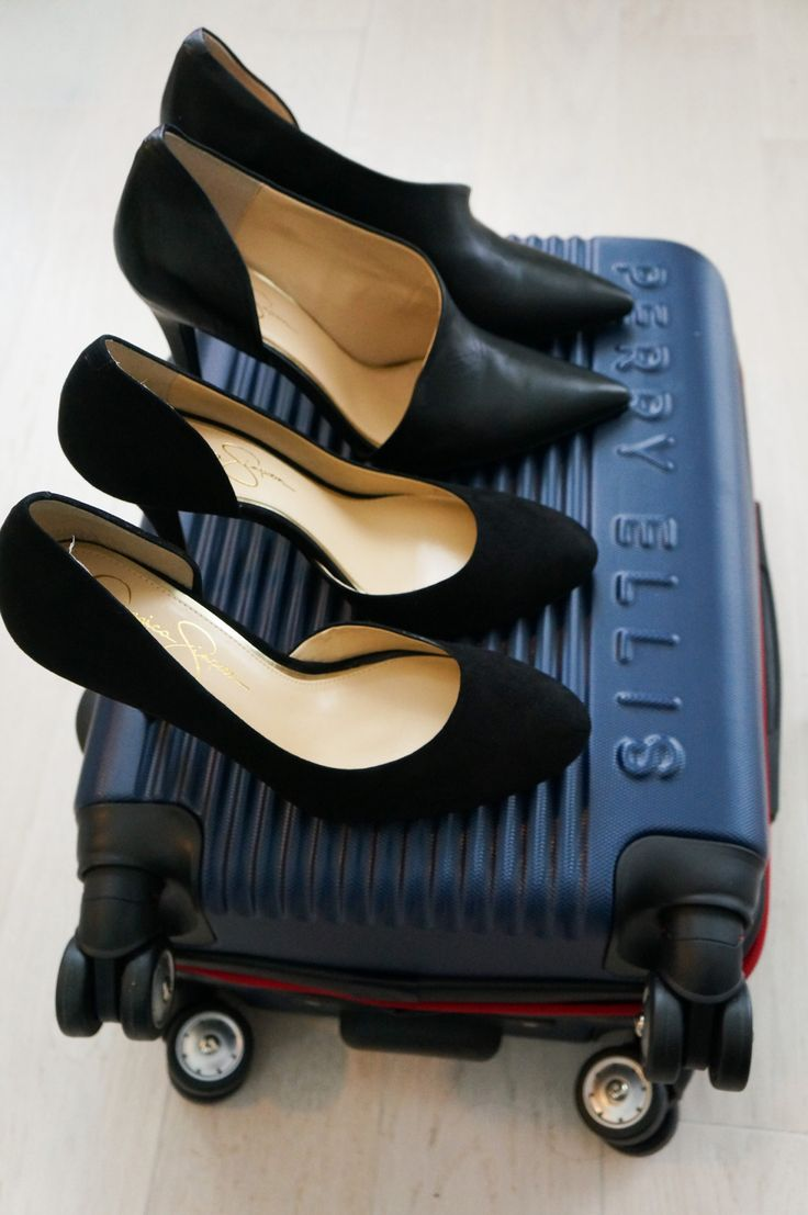Jessica Simpson stilettos and a Perry Ellis carry on. From the Trendy Techie Guide to Packing for Conferences.   #trendy #techie #heels #sage #franch #travel #packing #tips #jessica #simpson #suitcase #wanderlust