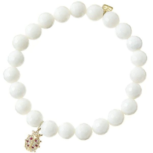 Sydney Evan 8mm Faceted White Agate Beaded Bracelet with 14k... ($600) ❤ liked on Polyvore featuring jewelry, bracelets, jewelry bracelets, white, 14k yellow gold charms, white gold jewellery, 14k charms, gold bangles and white gold jewelry