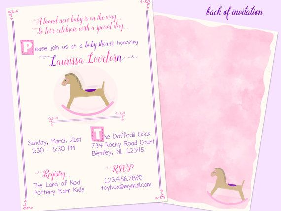 Toy Horse Baby Shower Invitation  Baby by LaMistenlaireGifts