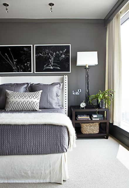 What a gorgeous gray bedroom. benjamin moore - kendall charcoal.
