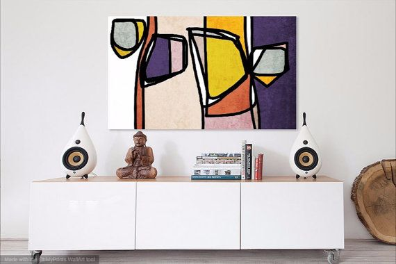 """Vibrant Colorful Abstract-0-13. Mid-Century #Modern Pink Purple #Canvas #Art Print, Mid Century Modern Canvas Art Print up to 72"""" by Irena Orlov  Wall Art Decor for Home, Offi... #midcentury #paintings #print #orlov #giclee #abstract"""