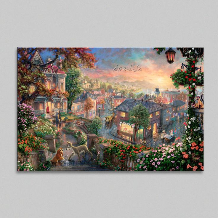 Find More Painting & Calligraphy Information about Framed Thomas Kinkade Oil Paintings Lady and the Tramp Art Decor Painting Print Giclee Art Print On Canvas,High Quality canvas painting set,China painting canvas Suppliers, Cheap canvas trainer from Eazilife Oil Painting on Aliexpress.com