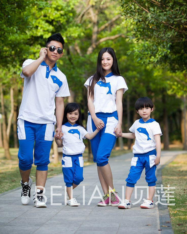 Anne ve kızı ailesi ayarlamak popüler yunus ebeveyn-çocuk grubu için anne ve oğul giysiler için Aile moda yazlık giysiler $18.00 - 23.00