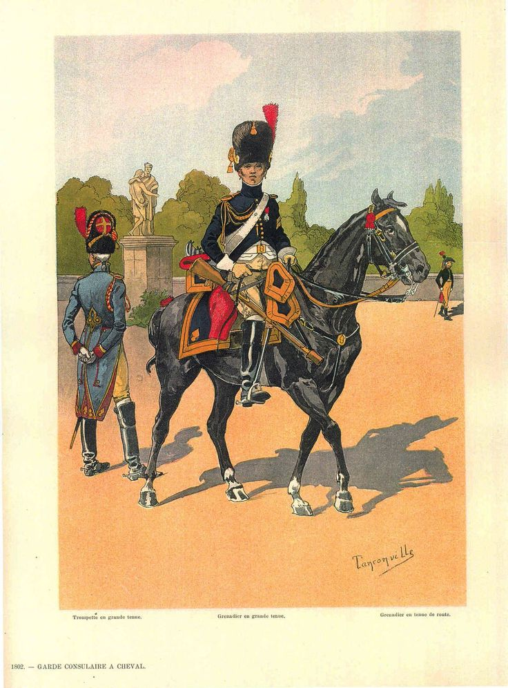 Engraving Original Lithograph By Henri Ganier Tanconville The Consuls Guard On Horseback Empire After Collection Alsatians In Imperial