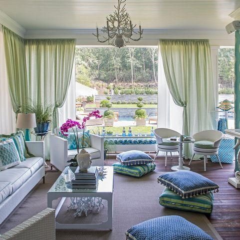Teal And Fushia Pink Livingroom Design Ideas, Pictures, Remodel and Decor