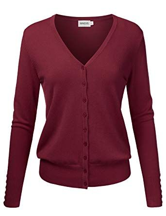 Great for NINEXIS Womens Basic Long Sleeve V-Neck Button Down Knit Cardigan  Sweater online ab8aafd1a