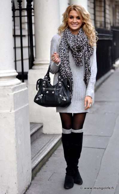 Light grey sweater dress and boot socks, tights, leg warmers, leopard scarf,