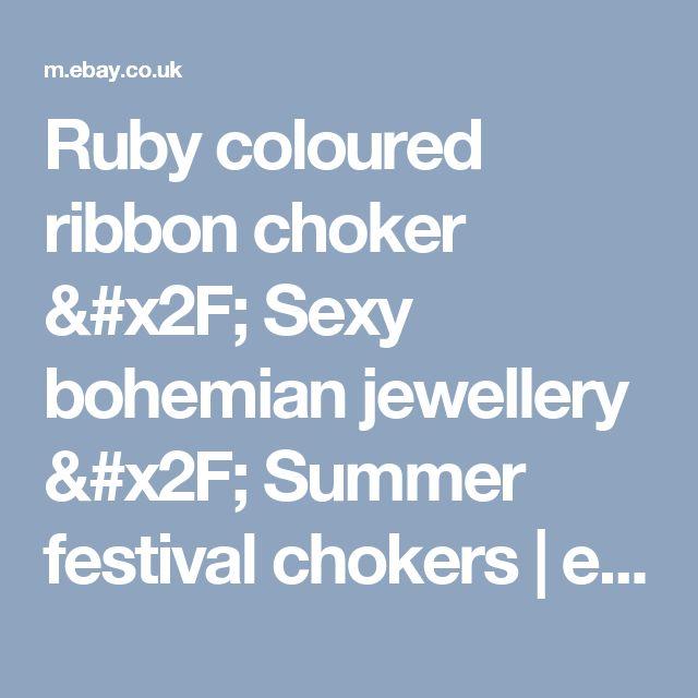 Ruby coloured ribbon choker / Sexy bohemian jewellery / Summer festival chokers    eBay