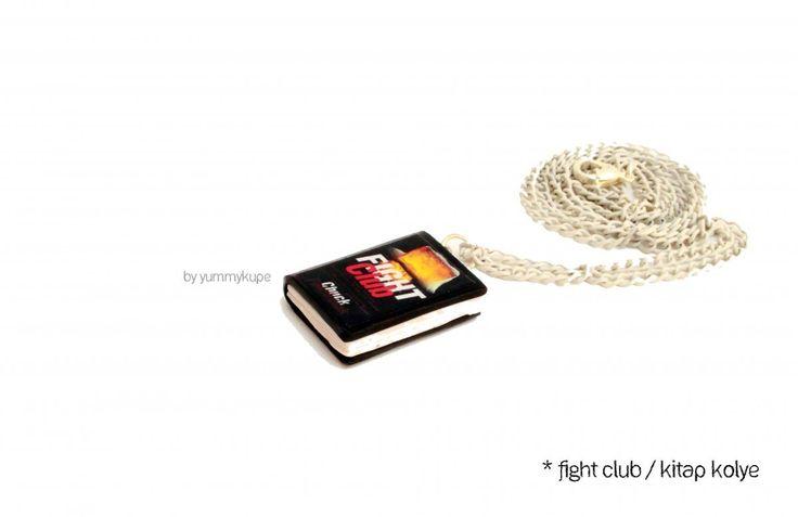 FIGHT CLUB KİTAP KOLYE - Polimer kil minyatür kitap
