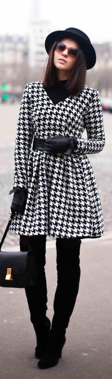 Classic black and white houndstooth. Love it even though it screams University of Alabama. lol