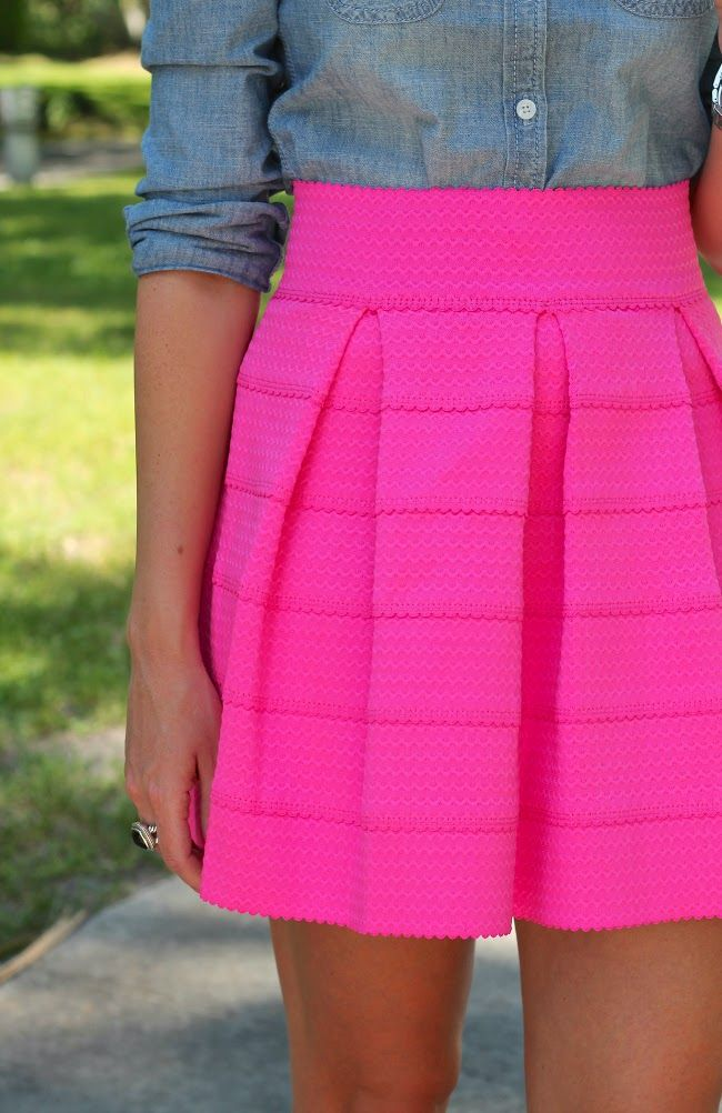 Chambray makes a great pairing with our bandage skirts! Skirts available in coral, mint, and black! Available Fedora Boutique stores
