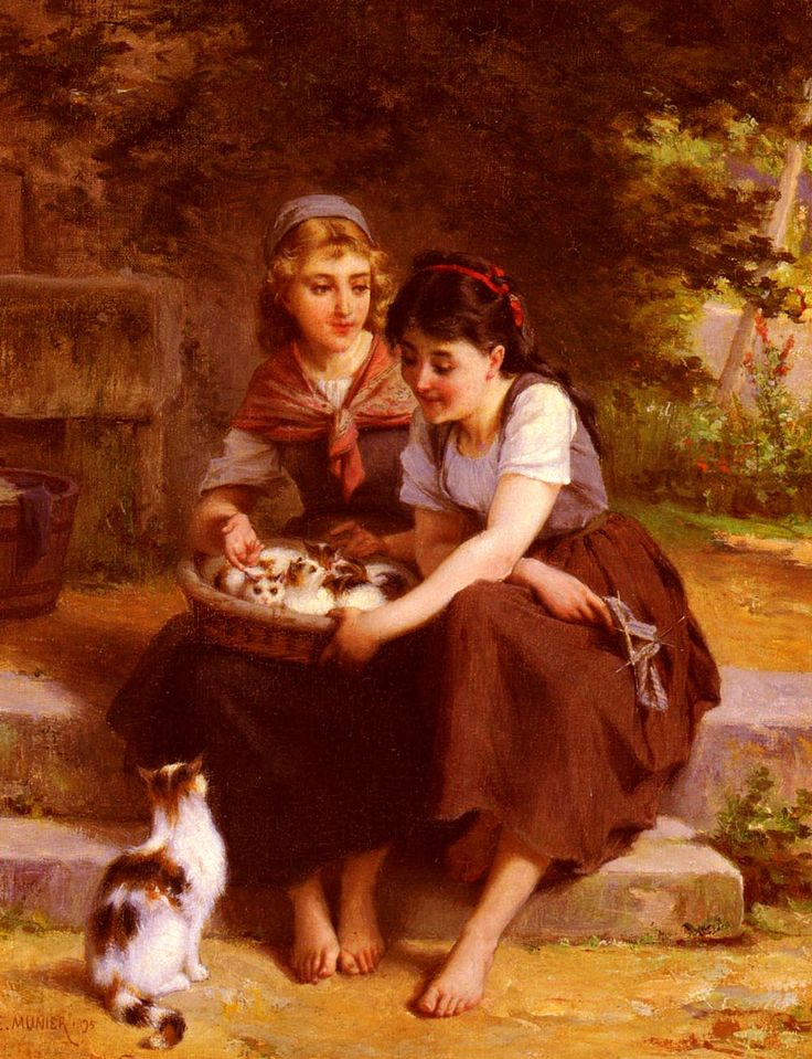 English: Two Girls With A Basket Of Kittens  Émile Munier (1840–1895)