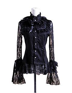 Blouse/Shirt+Gothic+Lolita+Cosplay+Lolita+Jurken+Zwart+Effen+Lange+Mouw+Lolita+Blouse+Voor+Dames+Katoen+–+EUR+€+82.31