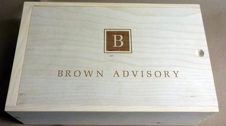Brown Advisory Custom 2 Bottle Wooden Wine Case