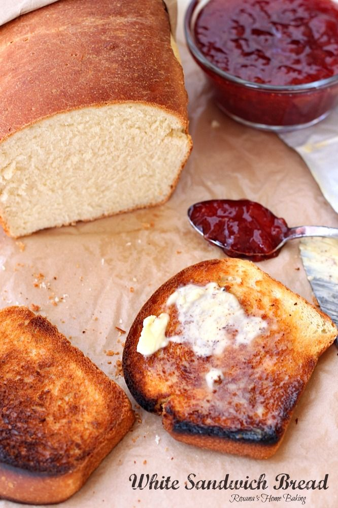 White sandwich bread from Roxanashomebaking.com Soft and fluffy, with a yellowish crumb and a chewy crust, this bread it perfect for Pb&J or any deli sandwiches and even for making French toast.