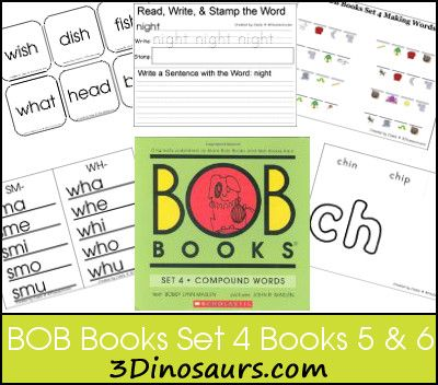 BOB Books Set 4 Books 5 & 6 - Great printables for learning blends and long vowel sound combinations - 3Dinosaurs.com