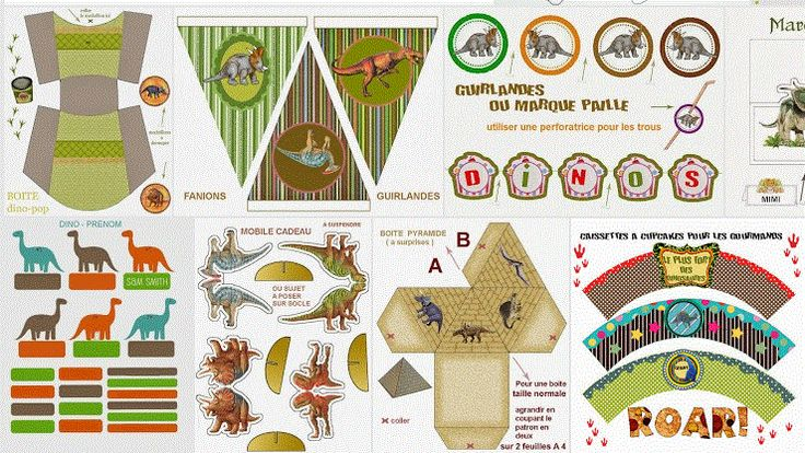 Kit muy completo de dinosaurios, para imprimir gratis. http://www.ohmyfiesta.com/2013/11/kit-de-dinosaurios-para-imprimir-gratis.html