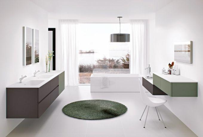 Kolekce Modular zahrnuje libovolně kombinovatelný nábytek a sanitární keramiku v jednotném designu, ale mnoha různých rozměrech a barvách, Cosmic, cena na dotaz, www.icosmic.com