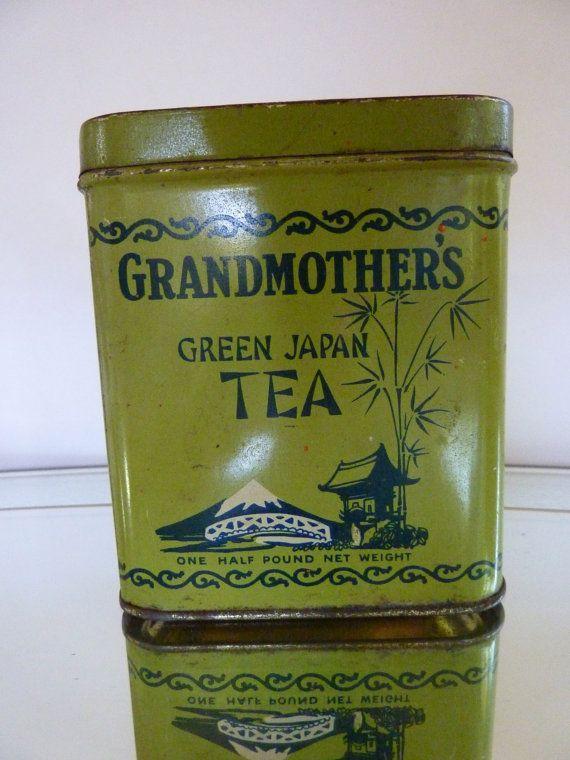 Antique Grandmother's Green Japan Tea Tin by BonniesVintageAttic, $95.00: Green Japan, Japan Teas, Teas Tins, Teas Time, Vintage Tins, Pacific Teas, Green Teas, Grandmothers Green, Antiques Grandmother