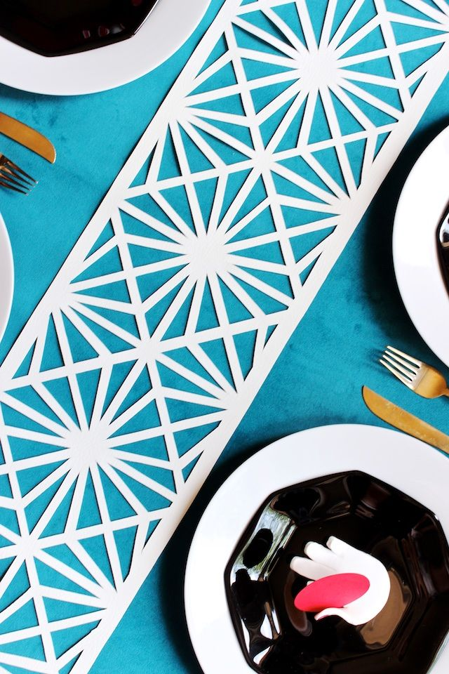DIY Geometric Midcentury Modern Table Runner by Mandy Pellegrin for Oh So Beautiful Paper