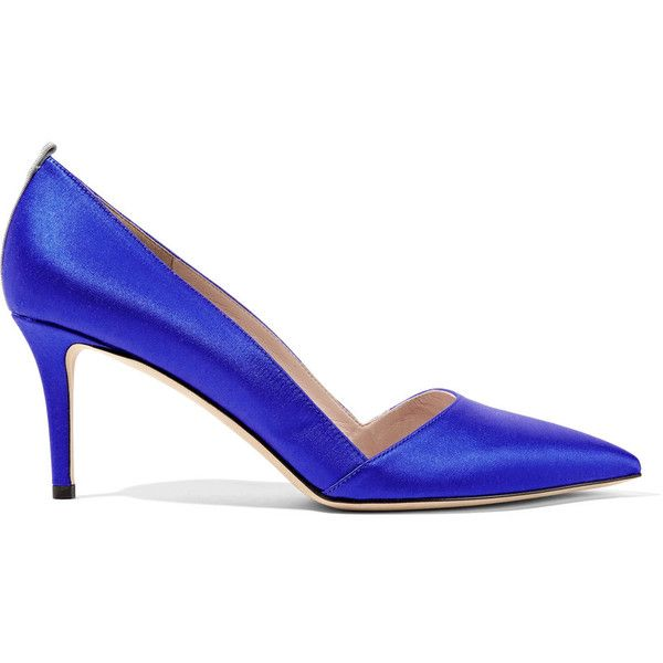 SJP By Sarah Jessica Parker Rampling satin pumps ($305) ❤ liked on Polyvore featuring shoes, pumps, royal blue, sjp, sjp shoes, satin pumps, high heeled footwear and satin shoes