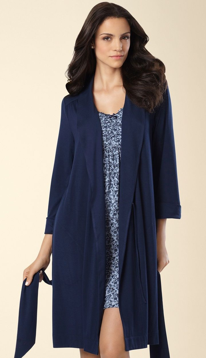 Soma Embraceable Cool Nights Short Robe in Navybound