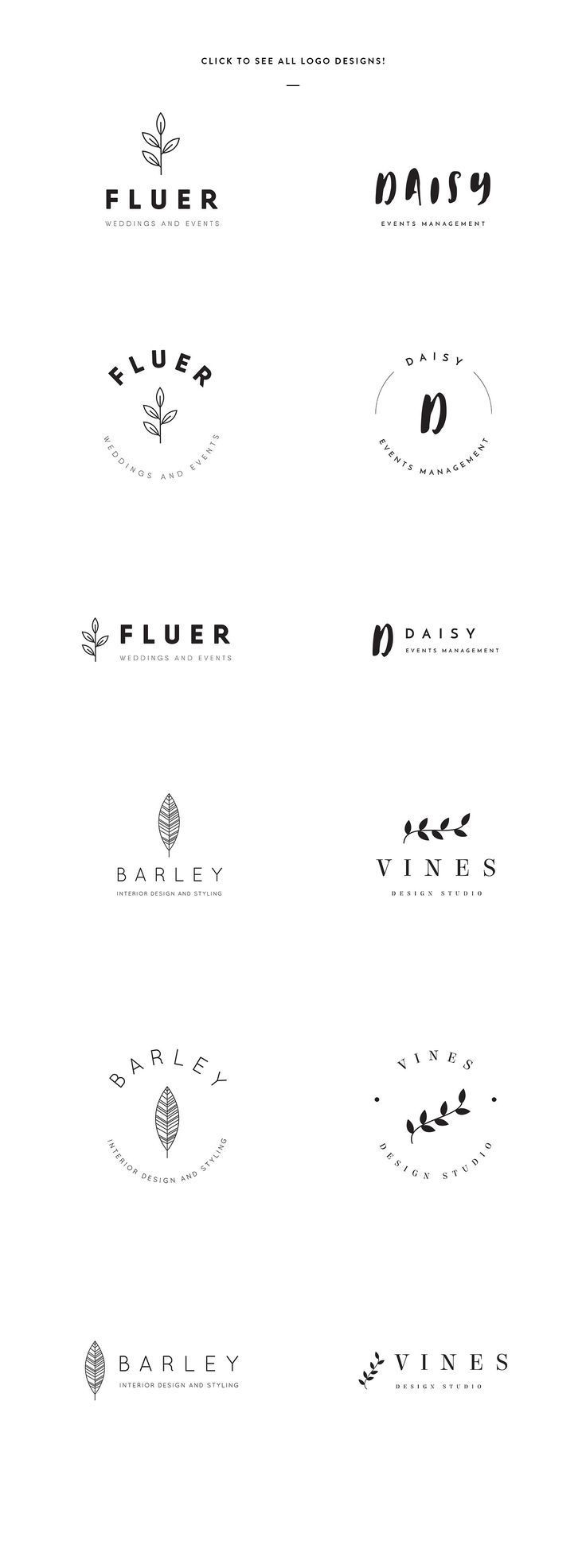 Elegant Logo Templates by GraphicSupplyCo. on @creativemarket Creative logo design inspiration, perfect for a modern business branding with perfect font and typography selection. Take some ideas or use this feminine, elegant, nature, floral and also hipster set.