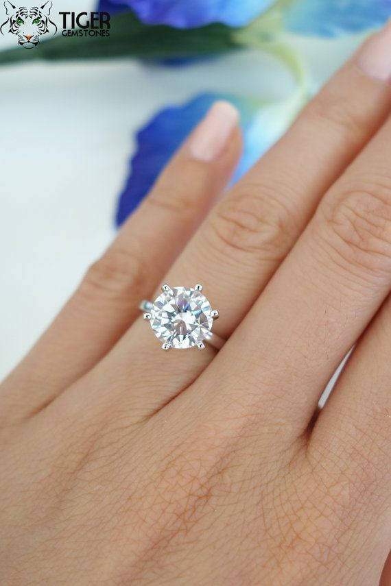 3 Carat Round 6 Prong Solitaire Engagement Ring by TigerGemstones