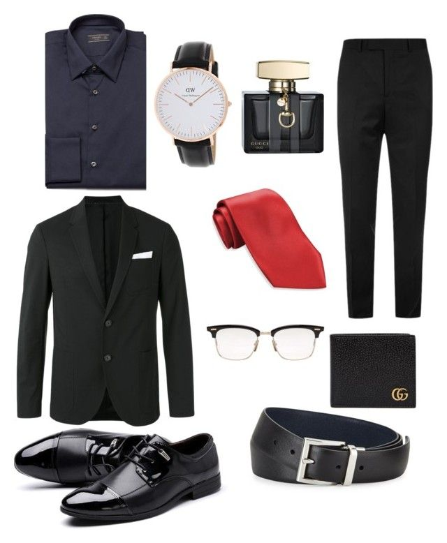 """Black Formal Men Fashion"" by saffaatun on Polyvore featuring Prada, Neil Barrett, Haggar, Thom Browne, Sandro, Gucci, men's fashion and menswear"