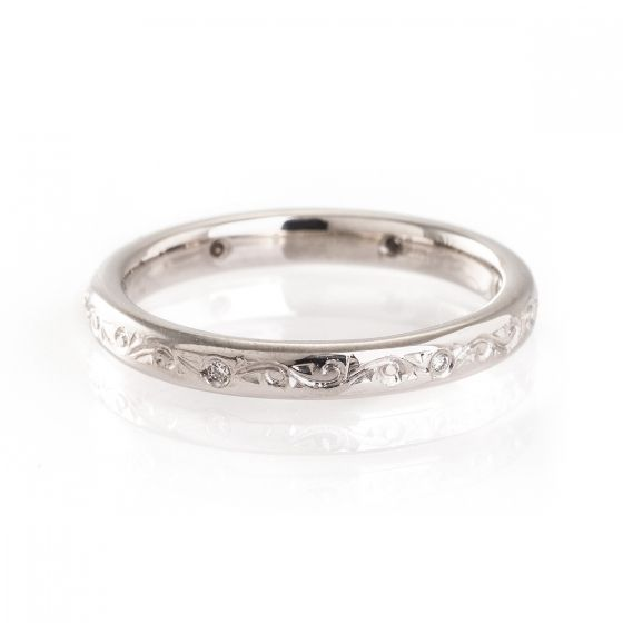 Ladies handmade engraved wedding ring - from a custom jewelers in Birmingham, England.