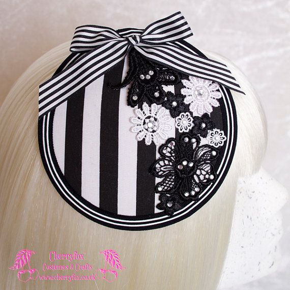 Black & White Stripe Fascinator, Lace Flowers, striped Bow, Steampunk, Goth, Kawaii, Lolita, Rockabilly, Cocktail Hat, wedding, dress, races on Etsy, $41.97