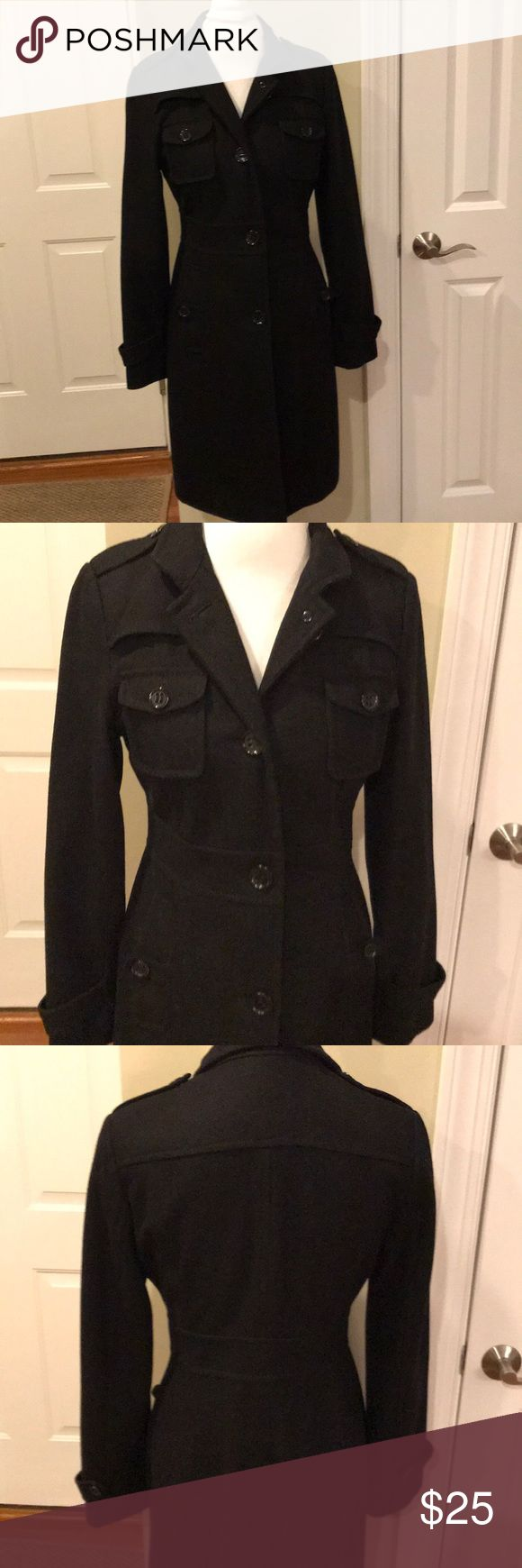 """Kenneth Cole Reaction ladies coat Black, wool blend coat, so warm and very figure flattering, ladies size 6.  Overall coat length is 37"""", arm length is 24"""".  From smoke/pet free home.  Please ask me for more measurements.  :-) Kenneth Cole Reaction Jackets & Coats"""