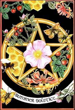 Monday, June 19 brings Midsummer Eve, an evening of flickering candles and  divination, mugwort and deep dreams.  Tuesday, June 20 is Summer Solstice (in the Northern hemisphere) or Litha -  the pinnacle and purna (fullness) of the Light, the triumphant day of the  Sun, the longest day and shor