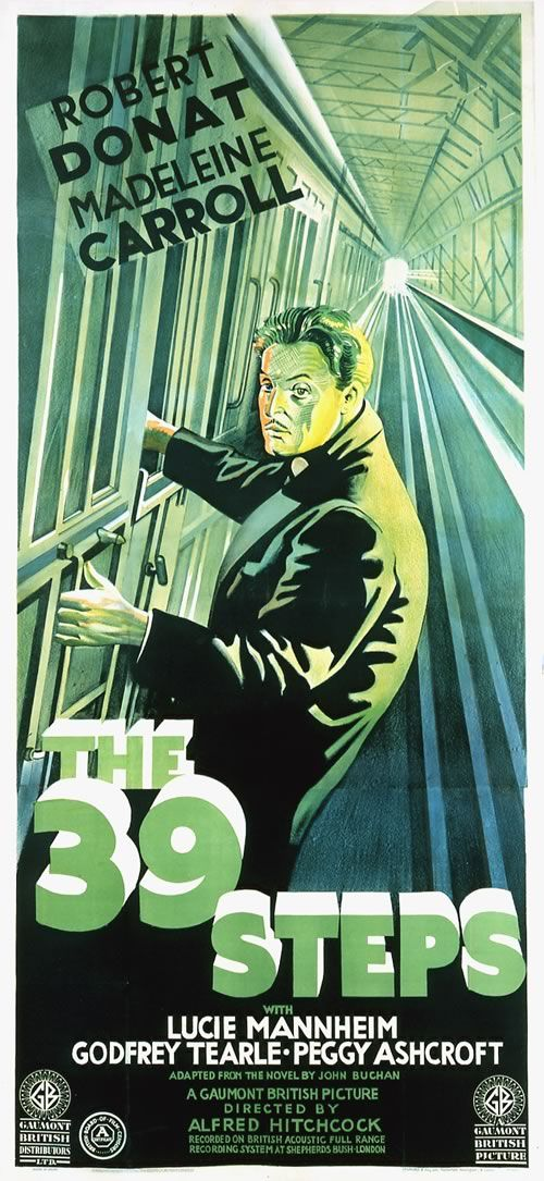 The 39 Steps (1935) - directed by Alfred Hitchcock and starring Robert Donat and Madeleine Carroll.