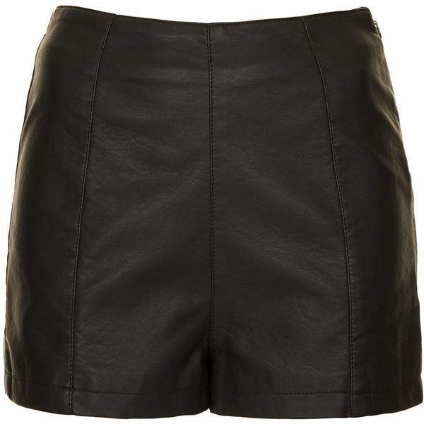 TOPSHOP Petite Leather Look Shorts (£15) found on Polyvore featuring shorts, bottoms, pants, short, black, petite, mini shorts, hot shorts, micro short shorts and micro shorts