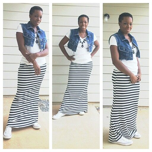maxi skirt jean vest and converse my style