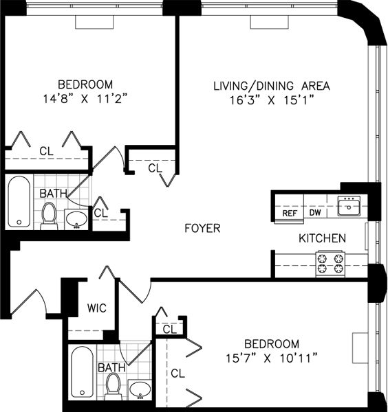 Renting An Apartment In Nyc: Studio, One, And Two Bedroom Apartment Floor Plans For