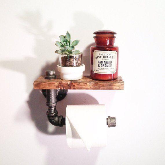 Industrial Bathroom Toilet Paper Holder Rustic Home Decor Steampunk B …   – Bauernhaus badezimmer