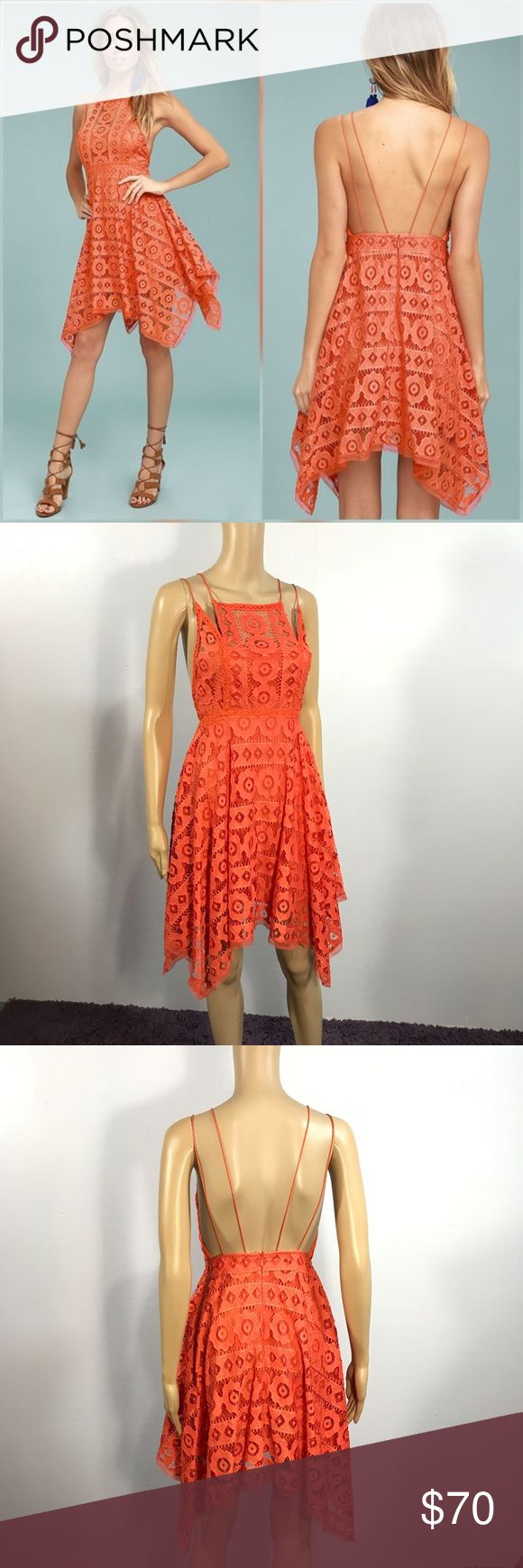 NWT Free People Just like Honey Mini Dress sz 0 Perfect condition, brand new with tags! Style No. 41558305 ; Color Code: So pretty and femme, this lacey mini dress features an asymmetrical hem with a unique high neckline. Lined Hidden back zipper closure Fit-and-flare shape The tag says it's red, but it is a more on the orange side Free People Dresses Mini