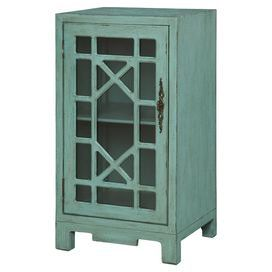 """Awash in a sea blue finish, this weathered cabinet showcases 1 glass door with a fretwork overlay.    Product: CabinetConstruction Material: Engineered wood and glassColor: Sea blueFeatures:  One glass doorFretwork overlay Dimensions: 34.75"""" H x 18.5"""" W x 16"""" D"""