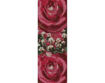 Vintage Rose 4 Peyote Bead Pattern Bracelet Cuff Bookmark