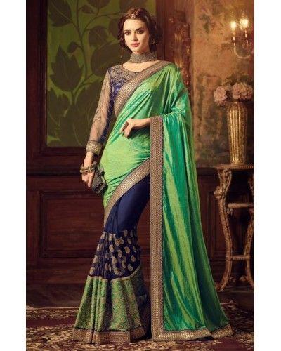 Green & Blue Embroidered Half n Half Saree
